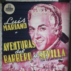 Cine: CARTEL CINE AVENTURAS DEL BARBERO DE SEVILLA LUIS MARIANO LITOGRAFIA PERIS ARAGO ORIGINAL. Lote 217248868