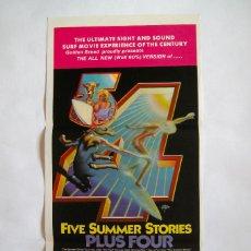 Cine: CARTEL ORIGINAL AUSTRALIA / SURF / FIVE SUMMER STORIES PLUS FOUR / 1976 / 34X76 CM. Lote 217256291
