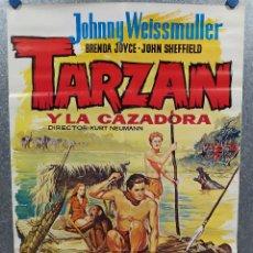 Cine: TARZÁN Y LA CAZADORA. JOHNNY WEISSMULLER, BRENDA JOYCE. POSTER ORIGINAL. Lote 217274577
