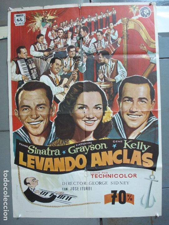 CDO 4965 LEVANDO ANCLAS GENE KELLY FRANK SINATRA ALVARO POSTER ORIGINAL 70X100 ESPAÑOL (Cine - Posters y Carteles - Musicales)
