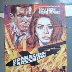Cine: CDO 4982 OPERACION CROSSBOW SOFIA LOREN GEORGE PEPPARD POSTER ORIGINAL 70X100 ESPAÑO R-75. Lote 217353032