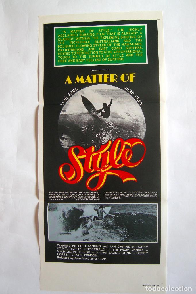 CARTEL ORIGINAL AUSTRALIA / SURF / MATTER OF STYLE / 1976 / 34X76 CM (Cine - Posters y Carteles - Documentales)