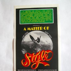 Cine: POSTER ORIGINAL AUSTRALIA / SURF / MATTER OF STYLE / 1976 / 34X76 CM. Lote 217444086