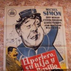Cine: (CINE-476)CARTEL CINE EL PORTERO SU HIJA Y DON BASILIO LITOGRAFIA ORIGINAL. Lote 217460068