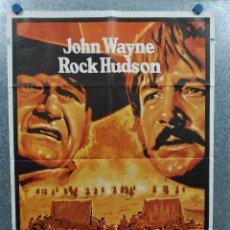 Cine: LOS INDESTRUCTIBLES. JOHN WAYNE, ROCK HUDSON, ANTONIO AGUILAR AÑO 1977. POSTER ORIGINAL. Lote 217675302