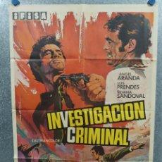 Cine: INVESTIGACIÓN CRIMINAL. ÁNGEL ARANDA, LUIS PRENDES, SILVANA SANDOVAL. AÑO 1969. POSTER ORIGINAL. Lote 218023575