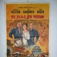 Cine: 55 DIAS EN PEKIN - 110 X 75 - 1963 - LITOGRAFICO. Lote 218074130