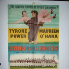 Cine: CUNA DE HEROES - 100 X 70 - 1955 - LITOGRAFICO. Lote 218074235