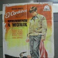 Cine: CDO 5195 APRENDIENDO A MORIR MANUEL BENITEZ EL CORDOBES LAZAGA TOROS POSTER ORIGINAL 70X100 ESTRENO. Lote 218134293