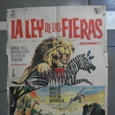 Cine: CDO 5315 LA LEY DE LAS FIERAS DOCUMENTAL AFRICA SALVAJE SERENGETI POSTER ORIGINAL 70X100 ESTRENO. Lote 218495161