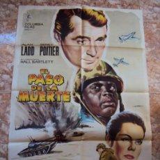 Cine: (CINE-550)EL PASO DE LA MUERTE ALAN LADD SIDNEY POITIER ALBERICIO POSTER ORIGINAL. Lote 218503715