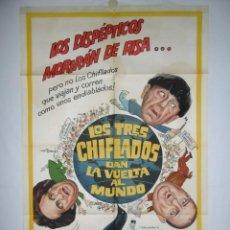 Cine: LOS TRES CHIFLADOS DAN LA VUELTA AL MUNDO - 1963 - 110 X 75 - LITOGRAFICO. Lote 218561433