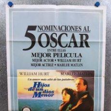 Cine: HIJOS DE UN DIOS MENOR. WILLIAM HURT, MARLEE MATLIN. AÑO 1986. POSTER ORIGINAL. Lote 218609515