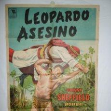Cine: LEOPARDO ASESINO - 1954 - 110 X 75 - LITOGRAFICO. Lote 218766992