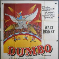 Cine: WV10D DUMBO WALT DISNEY POSTER ORIGINAL ITALIANO 140X200. Lote 219122426
