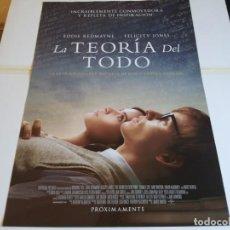 Cine: LA TEORIA DEL TODO - EDDIE REDMAYNE, FELICITY JONES - CARTEL ORIGINAL UNIVERSAL AÑO 2014. Lote 219266267