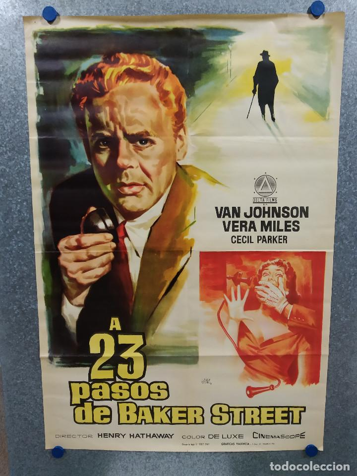 A 23 PASOS DE BAKER STREET. VAN JOHNSON, VERA MILES, CECIL PARKER. AÑO 1961. POSTER ORIGINAL (Cine - Posters y Carteles - Suspense)
