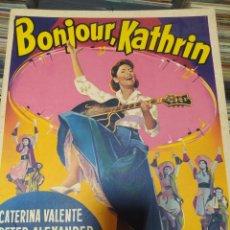 Cine: CATERINA VALENTE CARTEL BELGA ACARTONADO DE LA PELICULA BONJOUR.KATHRIN MEDIDAS 0.36X0.47 CM. Lote 219677357