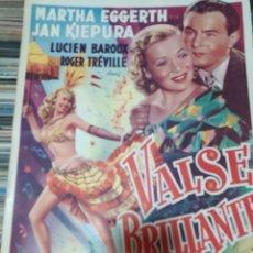 Cine: MARTHA EGGERTH CARTEL BELGA DE LA PELICULA VALSE BRILLANTE MEDIDAS 0.36 X 0.55 CM. Lote 219677863