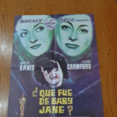Cine: ¿QUE FUE DE BABY JANE?, CARTEL EDICIÓN LIMITADA NUMERADA DE 66X47 CM.. Lote 219989651