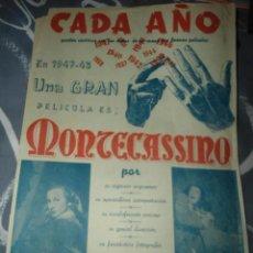 Cine: ANTIGUO Y RARO CARTEL MONTECASSINO. Lote 220111755