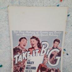 Cine: TAKE IT BIG 1944 JACK HALEY , HARRIET HILLIARD .- CARTEL ORIGINAL EEUU CARTON 36X56. Lote 220233688
