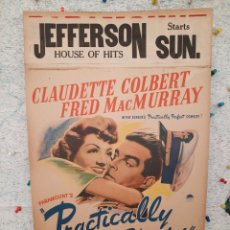 Cine: PRACTICALLY YOURS 1944 .- CLAUDETTE COLBERT / FRED MACMURRAY .- CARTEL EEUU CARTON 56X36. Lote 220234511