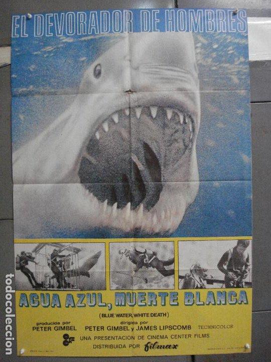 CDO 5872 AGUA AZUL MUERTE BLANCA DOCUMENTAL TIBURON POSTER ORIGINAL 70X100 ESTRENO (Cine - Posters y Carteles - Documentales)