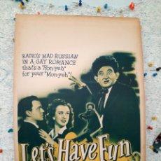 Cine: LET'S HAVE FUN .- BERT GORDON , MARGARET LINDSAY 1943 .- CARTEL ORIGINAL EEUU CARTON 36X56. Lote 220343877