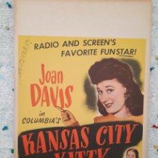 Cine: KANSAS CITY KITTY 1944 .- JOAN DAVIS , BOB CROSBY .- CARTEL ORIGINAL EEUU CARTON 56X36. Lote 220348207