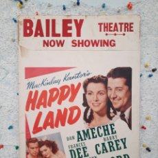 Cine: HAPPY LAND 1943 .- DON AMECHE , FRANCES DEE , HARRY CAREY .- CARTEL CARTON EEUU 56X36. Lote 220388506