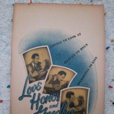Cine: LOVE HONOR AND GOODBYE 1945 / VIRGINIA BRUCE , EDWARD ASHLEY .- CARTEL EEUU CARTON 56X36. Lote 220391505