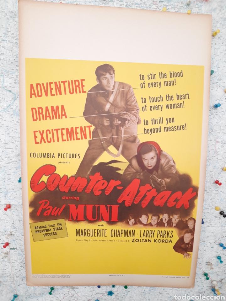 COUNTER-ATTACK 1945 .- PAUL MUNI ,MARGUERITE CHAPMAN .- CARTEL EEUU CARTON 56X36 (Cine - Posters y Carteles - Bélicas)