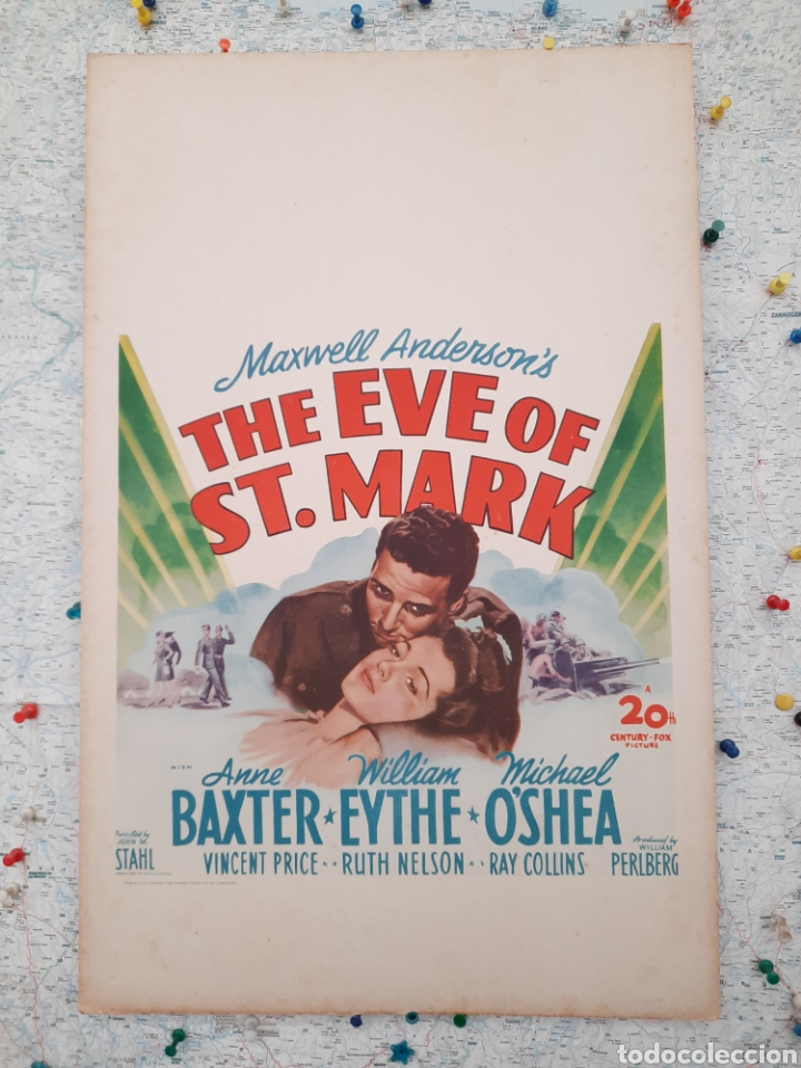 LA VISPERA DE SAN MARCOS / THE EVE OF ST. MARK .- ANNE BAXTER / WILLIAM EYTHE .- CARTEL EEUU CARTON (Cine - Posters y Carteles - Bélicas)
