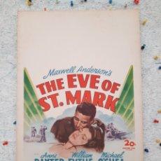 Cine: LA VISPERA DE SAN MARCOS / THE EVE OF ST. MARK .- ANNE BAXTER / WILLIAM EYTHE .- CARTEL EEUU CARTON. Lote 220394335