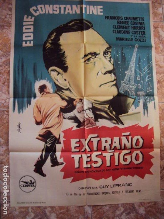 (CINE-632)EXTRAÑO TESTIGO EDDIE CONSTANTINE POSTER ORIGINAL (Cine - Posters y Carteles - Suspense)