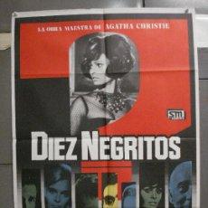 Cine: CDO 5989 DIEZ NEGRITOS SHIRLEY EATON AGATHA CHRISTIE POSTER ORIGINAL 70X100 ESPAÑOL R-82. Lote 220880626