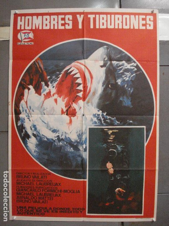 CDO 5998 HOMBRES Y TIBURONES SUBMARINISMO DOCUMENTAL POSTER ORIGINAL 70X100 ESTRENO (Cine - Posters y Carteles - Documentales)