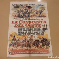 Cine: LA CONQUISTA DEL OESTE CARTEL ORIGINAL REPOSICIÓN 1984 GREGORY PECK, JAMES STEWART. Lote 245564980