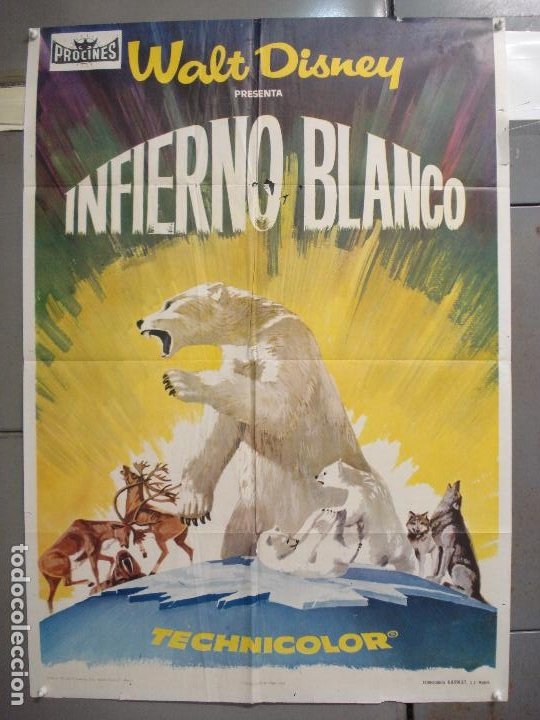 CDO 6080 INFIERNO BLANCO WALT DISNEY DOCUMENTAL ARTICO LEMMINGS POSTER ORIGINAL ESTRENO 70X100 (Cine - Posters y Carteles - Documentales)