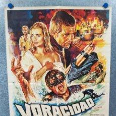 Cine: VORACIDAD, LAS PIRAÑAS ASESINAS. LEE MAJORS, KAREN BLACK, MARGAUX HEMINGWAY AÑO 1979 POSTER ORIGINAL. Lote 221574853
