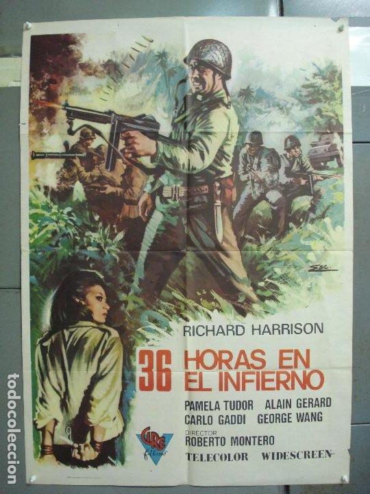 CDO 6247 36 HORAS EN EL INFIERNO RICHARD HARRISON POSTER ORIGINAL 70X100 ESTRENO (Cine - Posters y Carteles - Bélicas)