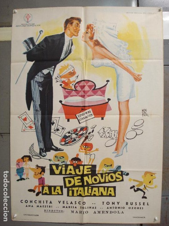 CDO 6269 VIAJE DE NOVIOS A LA ITALIANA CONCHA VELASCO TONY RUSSEL POSTER ORIGINAL 70X100 ESTRENO (Cine - Posters y Carteles - Clasico Español)