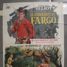 Cine: CDO 6350 ATRACADORES DEL FARGO / LEOPARDO ASESINO WILD BILL ELLIOTT POSTER ORIGINAL 70X100 ESTRENO. Lote 221788691