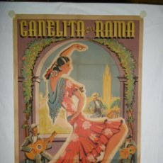 Cine: CANELITA EN RAMA - CARTEL UNICO CONOCIDO - 110 X 75 - 1943 - LITOGRAFICO. Lote 221866077