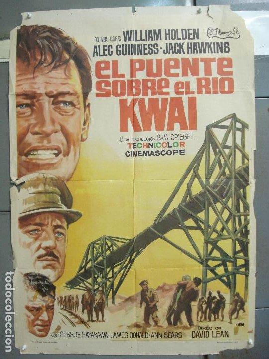 CDO 6392 EL PUENTE SOBRE EL RIO KWAI DAVID LEAN ALEC GUINNESS WILLIAM HOLDEN JANO POSTER 70X100 R-71 (Cine - Posters y Carteles - Bélicas)