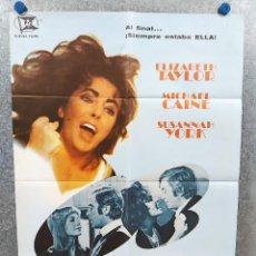 Cine: X, Y & ZEE: SALVAJE Y PELIGROSA . ELIZABETH TAYLOR, MICHAEL CAINE. AÑO 1972. POSTER ORIGINAL. Lote 221946652