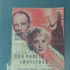 Cine: UNA PAREJA INVISIBLE - PROGRAMA DE CINE DOBLE TROQUELADO.. Lote 221954952