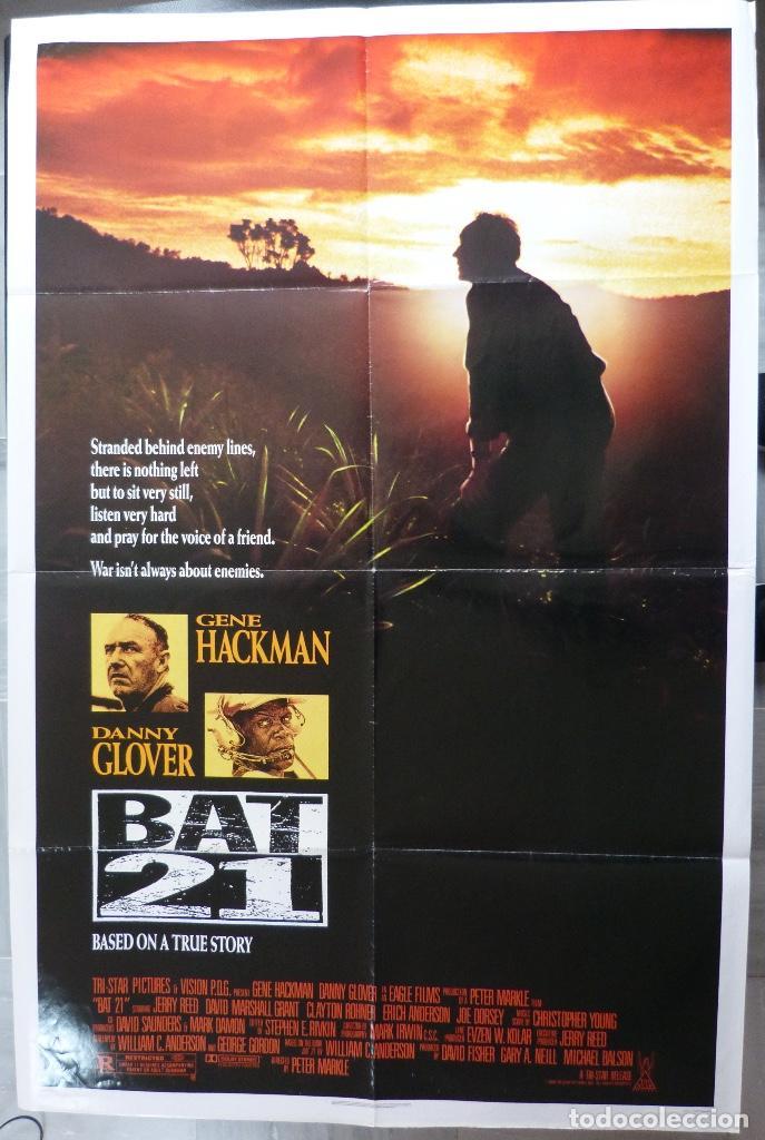 """PÓSTER DE PELÍCULA BAT 21, 41 """"X 27"""" PULGADAS, 1988, GENE HACKMAN, DANNY GLOVER, TRISTAR PICTURES (Cine - Posters y Carteles - Bélicas)"""
