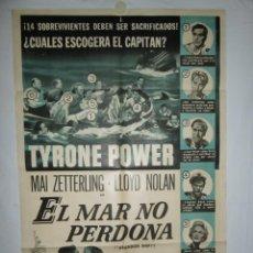 Cine: EL MAR NO PERDONA - 110 X 75 - 1957 - LITOGRAFICO. Lote 221990832